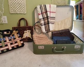 vintage purses and suitcase