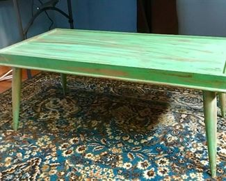 """""""1960's"""" modern blonde coffee table antiqued."""