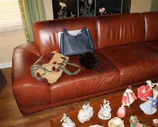 Contemporary brown leather sectional sofa