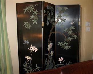 Asian black lacquer folding screen