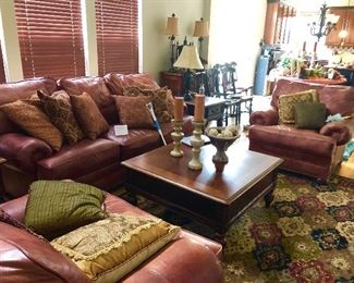 Walter E. Smithe leather chairs and sofa,