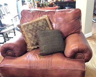 Walter E. Smithe leather chairs, matching set,  matching sofa