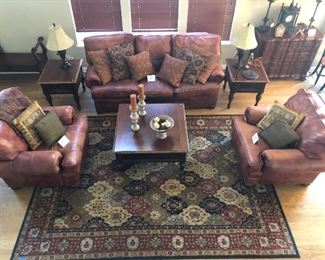 Walter E. Smithe Sofa and matching chairs, Matching End and coffee tables