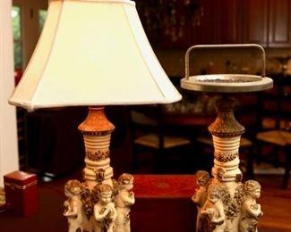 Vintage Italian Hollywood Regency Angel Cherub Table Lamp & Matching Ash Tray Stand
