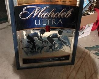 Framed Michelob bar mirror