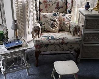 wicker furniture pieces, wing back chair