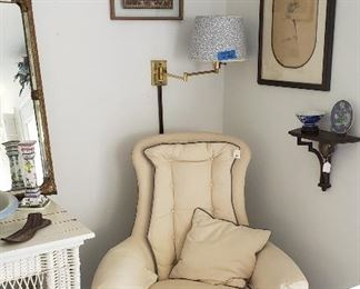 framed small tapestries of PARIS, classic chair upholstered in white/blue piping (blue/white lamps attached to wall are not for sale)