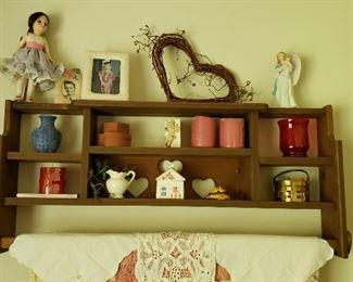 wooden shelf with treasures