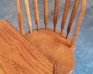 two oak chairs