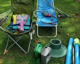 lawn chairs, life jackets, fishing, lake toys
