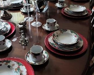 "Pennsylvania House cherry dining table with 8 chairs.  Tienshan ""magnolia"" fine china"