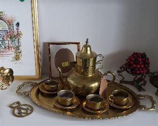 Mexican  brass tea set, brass accessories