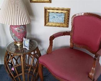 garden seat, lamp, framed prints, upholstered arm chair (2)