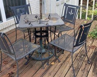 retro square patio table, 4 chairs, iron sconces