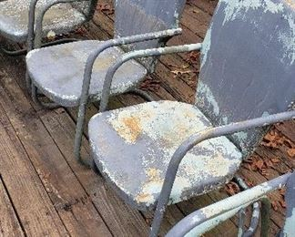 vintage 4 clamshell chairs