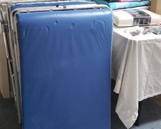 portable cots, beach towels
