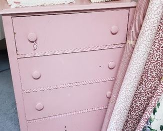 painted pink 4-drawer chest of drawers, fabric