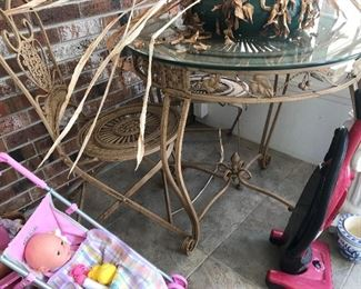 Metal Glass Top Garden Table / 2 Chairs $ 118.00
