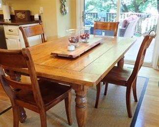 PINE PLANK DINING TABLE AND CHAIRS