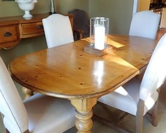 PINE DINING TABLE WITH UPHOLSTERED CHAIRS