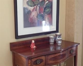 ANTIQUE ENTRY TABLE / WALL ART FLORAL