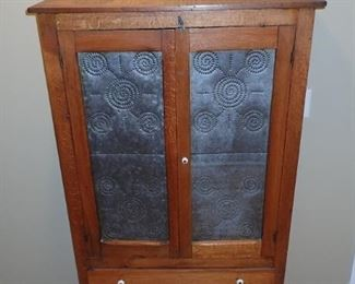 ANTIQUE PIE SAFE WITH TIN PUNCH INSERTS