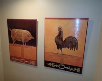 LARGE PIG & ROOSTER WALL ART
