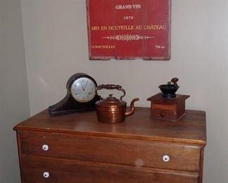 ANTIQUE 4 DRAWER DRESSER / COFFEE GRINDER / COPPER TEA KETTLE / ANTIQUE MANTLE CLOCK
