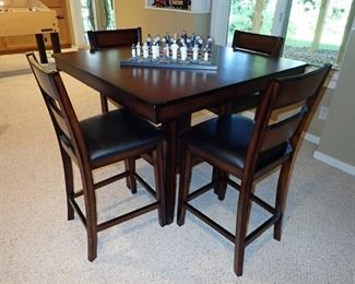 PUB TABLE AND 4 HI-TOP CHAIRS