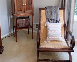 JEWELRY CHEST on legs/ WOOD & WICKER SIDE CHAIR / Asian chest not for sale