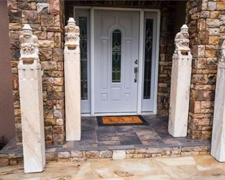1. Set of Four Carved Chinese Inspired Limestone Columns