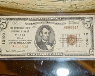 Serial #A000001A !!! 1929 Five (5) Dollar Bill (Near Mint) One of a Kind