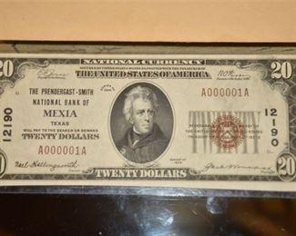 ULTRA RARE Serial # A000001A 1929 Twenty (20) Dollar Bill/Note UNIQUE EXAMPLE