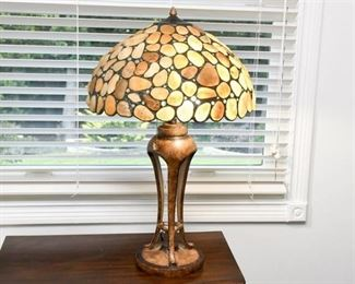 11. TiffanyStyle Lamp with Stone Decorated Shade