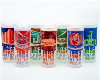 Lot 25. 1964/1965 New York World's Fair Glasses featuring various scenes.