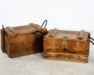 "Lot 202. Two vintage hand grenade crates made of wood with woven rope carrying handles. They are approximately 11.5"" H x 19.5"" W x 11.5"" D."