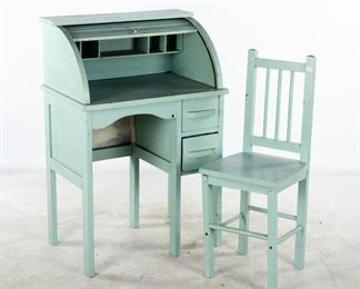 Lot 38. Painted Vintage Child's Desk And Chair.
