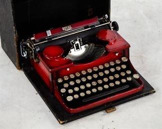 Lot 85. Royal Sunburst Red Portable Typewriter 1920's.