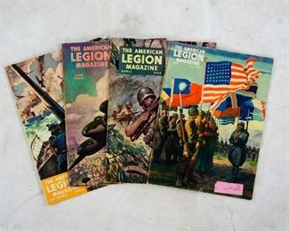 Lot 66. Four vintage The American Legion Magazine. The issues included are April 1943, June 1943, July 1943, and October 1943.