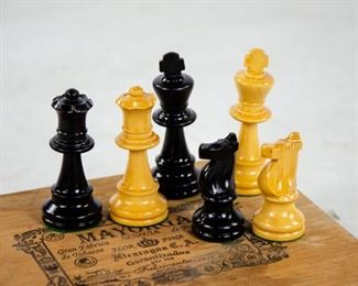 Lot 48. Wood Chess Set With Felted Bases.