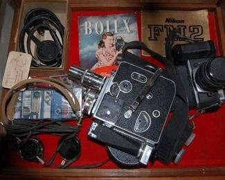 Bolex 16mm Film Camera and Nikon FM2 35mm camera