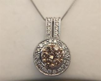 Champagne Diamond Pendant on Box Chain   https://ctbids.com/#!/description/share/225530