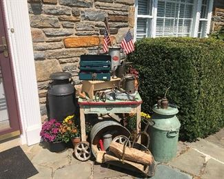 Milk cans, farm table- everything shabby vintage!