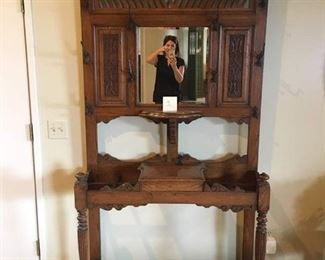 """Lovely Antique Hall Tree Umbrella Stand W/Bevelled Mirror 82""""T x 41""""W x 12""""D"""