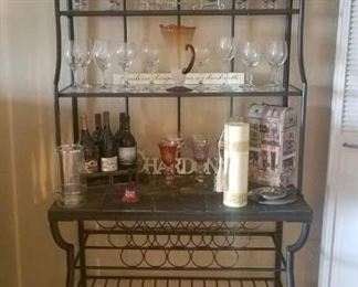 Slate Top Metal Wine Rack with Glass Shelves and Storage for Wine Bottles. Contents Not Included