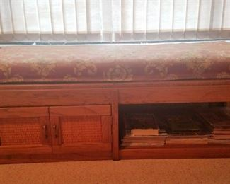 Oak & Cane Cabinet/Bench with Custom Upholstered Pad. Brass Fittings