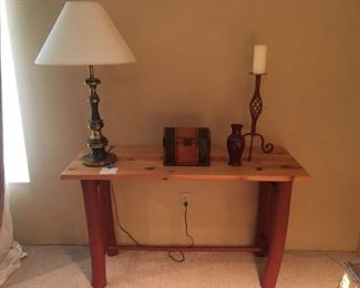 """Sturdy Pine Accent Table with Painted Legs 48""""x 17"""" x 28""""h, Nice Brass Lamp, Decorative Box and Table Decor."""