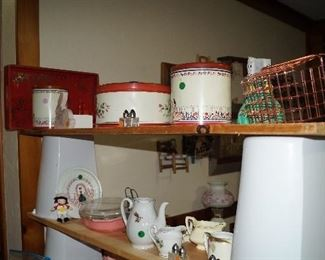 red top canisters and tins
