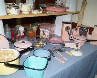 vintage pink kitchen ware