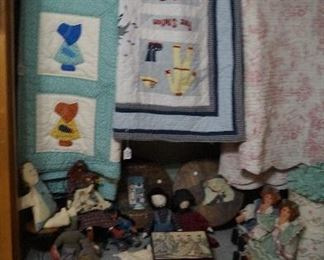 quilts, dolls, hat boxes, baskets, pillows